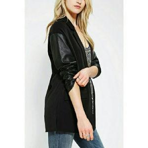 UO Silence + Noise Black Leather Blazer Jacket